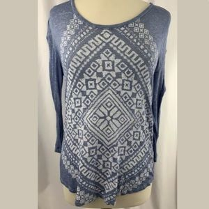 Lucky Brand Long Sleeve Top Shirt Blue Size XS